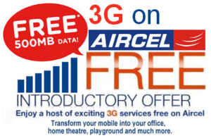 Aircel Free 500MB Internet Data Offer